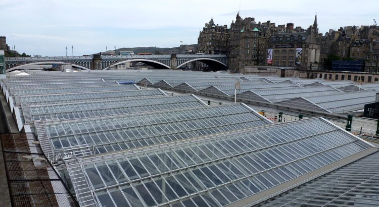 The glass roof of Waverley Station